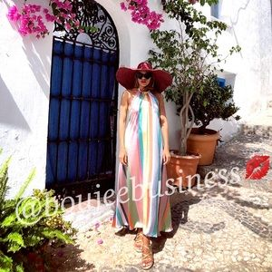 Zara Dresses - ZARA Striped Multicolored Halter Dress